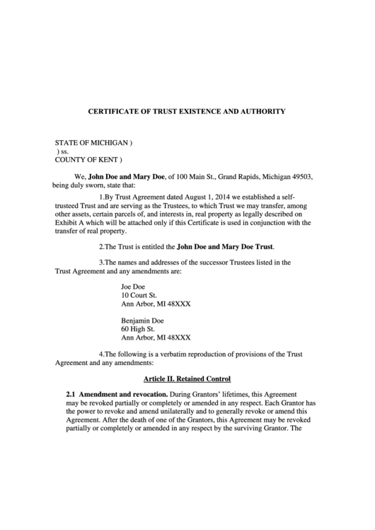 Certificate Of Trust Existence And Authority Form State