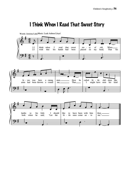 I Think When I Read That Sweet Story (Music: Leah Ashton Lloyd) Printable pdf