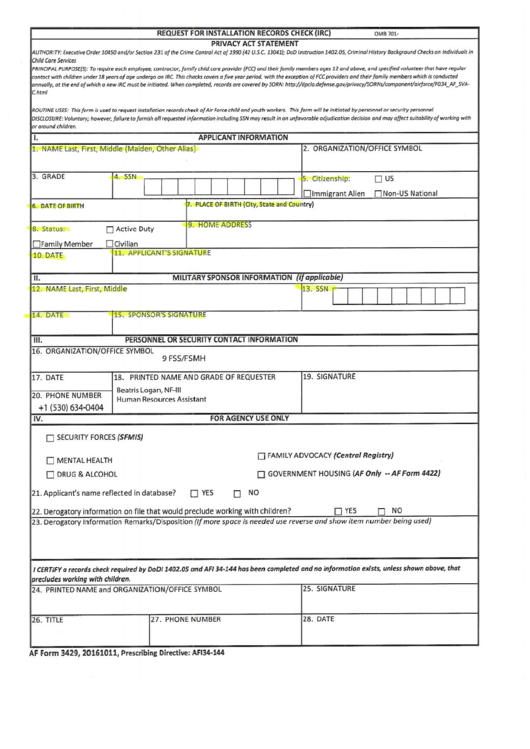 Af 3429 - Request For Installation Records Check (irc)