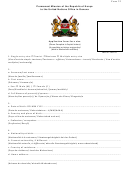 Form 22 - Application Form For A Visa (republic Of Kenya)