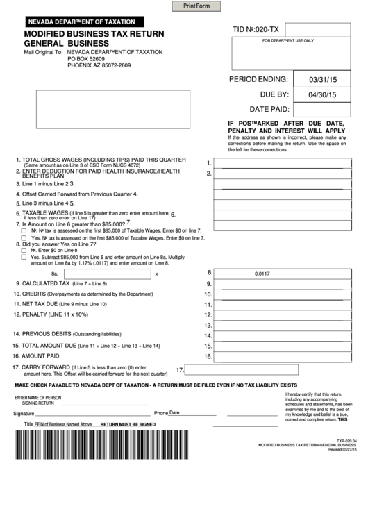 Top Nevada Modified Business Tax Form Templates free to download ...