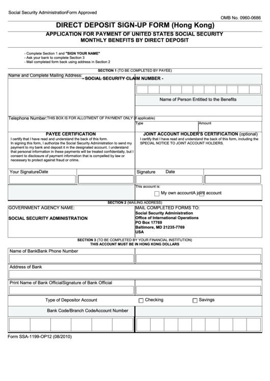 Form Ssa-1199-Op12 - Direct Deposit Sign-Up Form (Hong Kong) Printable pdf