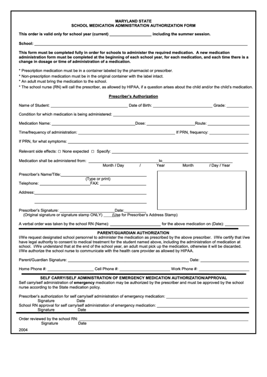 school medication administration form 2004 printable pdf