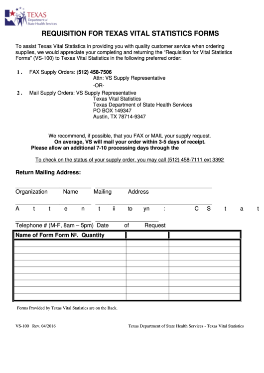 Requisition For Texas Vital Statistics Forms