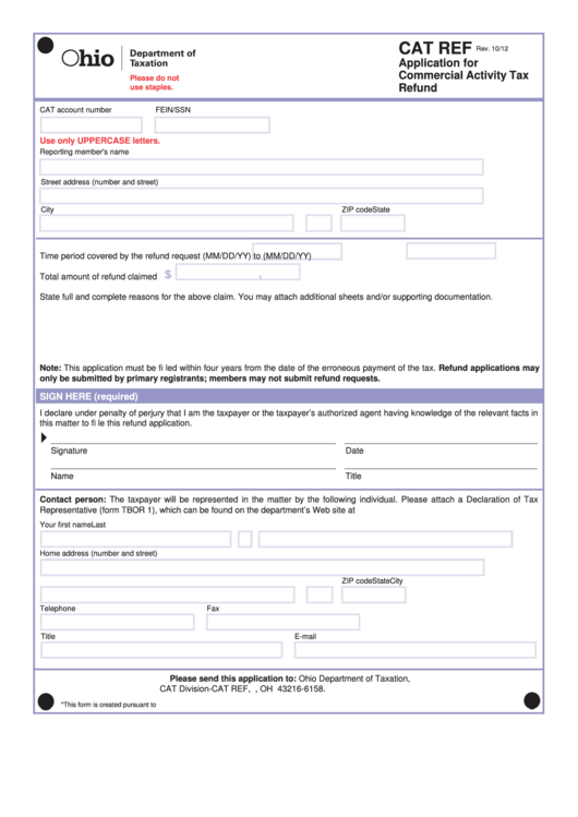 Top 6 Ohio Cat Tax Form Templates free to download in PDF, Word ...