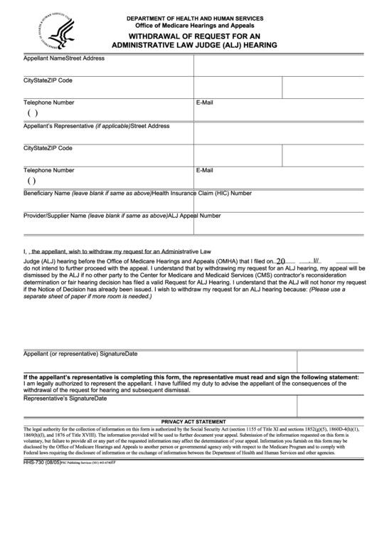 Fillable Form Hhs 730 - Withdrawal Of Request For An Administrative Law Judge (Alj) Hearing Printable pdf