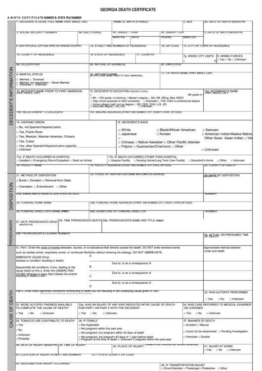 Fillable Form 3903 Georgia Death Certificate Printable Pdf Download