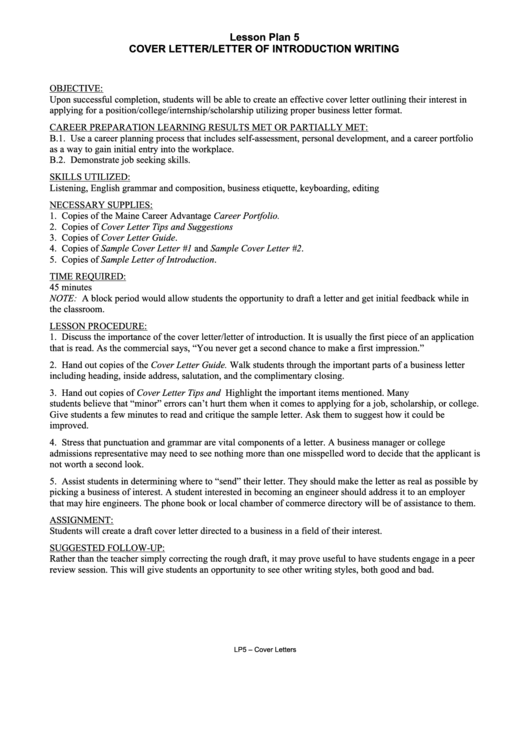 Cover Letter/letter Of Introduction Writing Printable pdf