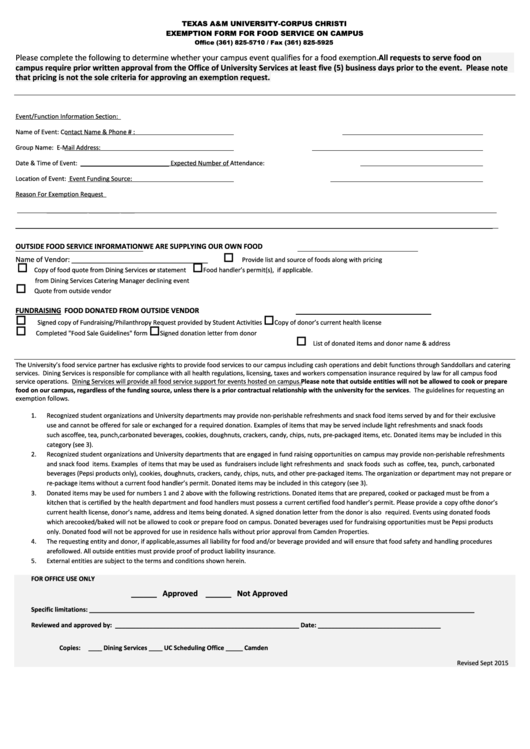Exemption Form For Food Service On Campus - Texas A&m University-corpus Christi