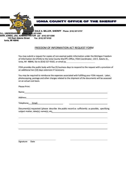freedom of information act request form printable pdf download. Black Bedroom Furniture Sets. Home Design Ideas