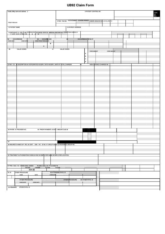 ub92 claim form printable pdf download