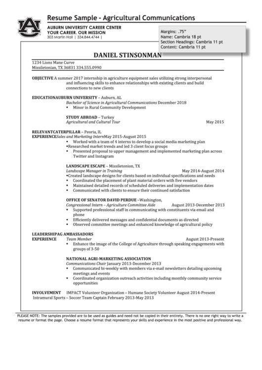 Resume Sample - Agricultural Communications Printable pdf
