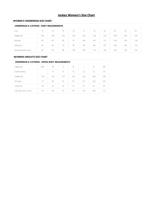 Jockey Women's Underwear Size Chart