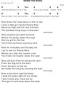 Down The Road Chord Chart - 4/4 Time, Key Of A