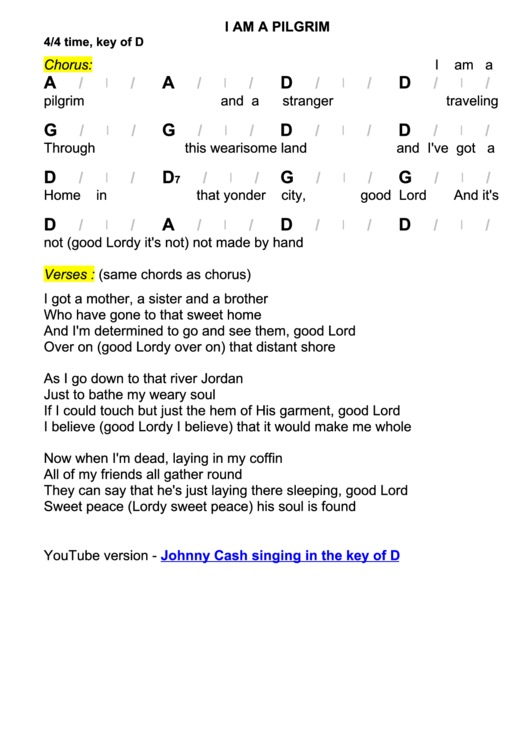 I Am A Pilgrim Chord Chart 44 Time Key Of D Printable Pdf Download