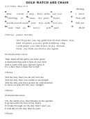 Gold Watch And Chain Chord Chart - 4/4 Time Key Of C