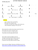 Letter From My Darlin Chord Chart - 4/4 Time, Key Of A