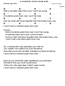 Flatt & Scruggs - A Hundred Years From Now Chord Chart