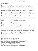 Some Old Day Chord Chart - 4/4 Time, Key Of G