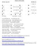 Bill Monroe - True Life Blues Chord Chart - 4/4 Time, Key Of A