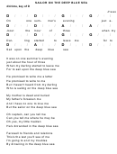 Sailor On The Deep Blue Sea Chord Chart - 4/4 Time, Key Of D