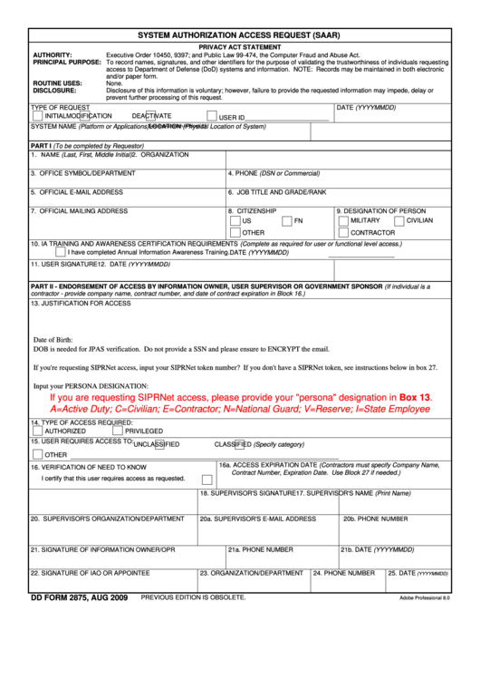 Dd Form 2875, System Authorization Access Request printable pdf ...