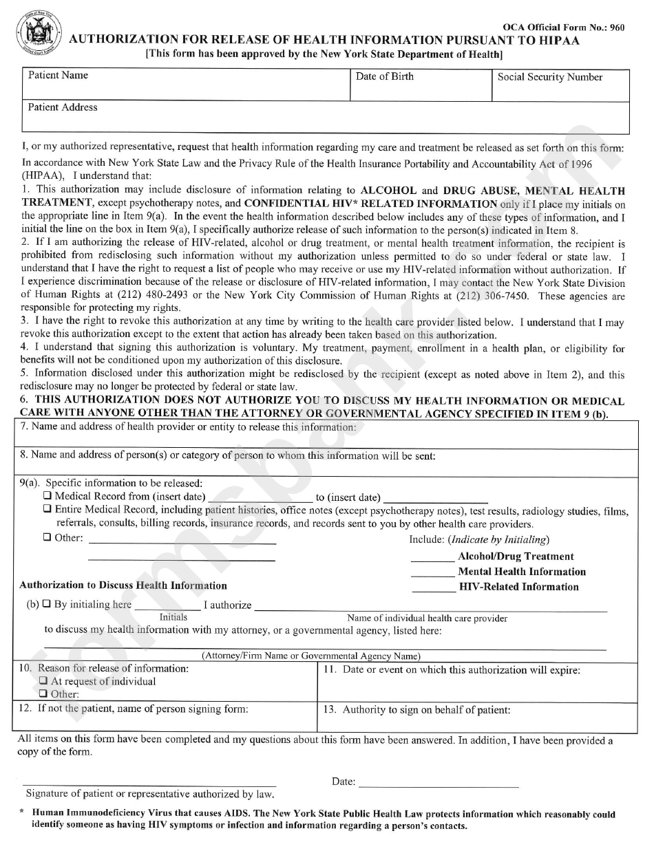Oca Official Form 960 - Authorization For Release Of Health ...