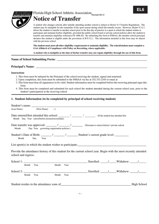 Notice Of Transfer Form - Florida