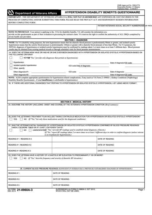 Va Form 21-0960a-3 - Hypertension Disability Benefits ...