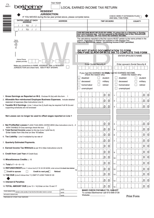 Fillable Form F1 - Local Earned Income Tax Return, Form F300