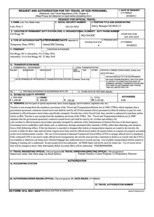 Dd Form 1610 - Request And Authorization For Tdy Travel Of Dod Personnel Printable pdf