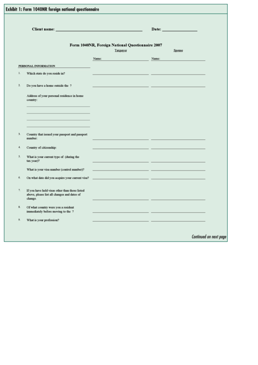 Form 1040nr Foreign National Questionnaire Printable pdf