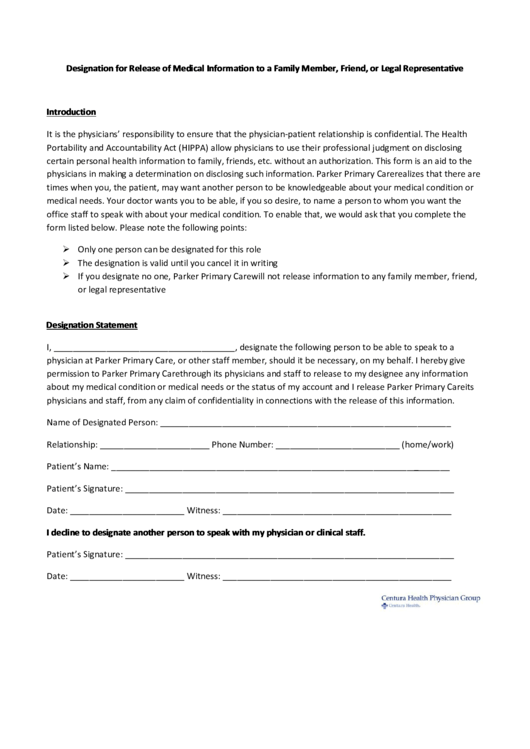 Release Of Information Form For Family Members