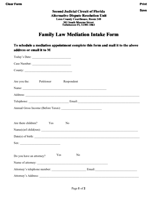 Family Law Mediation Intake Form