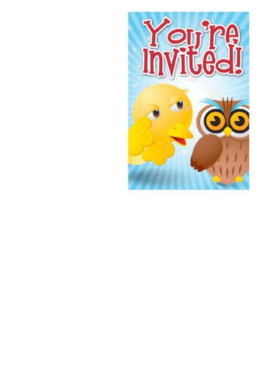 Owl Invitation Template Printable pdf