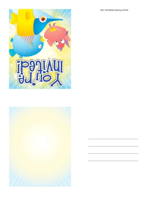Invitation Template Fish Printable pdf