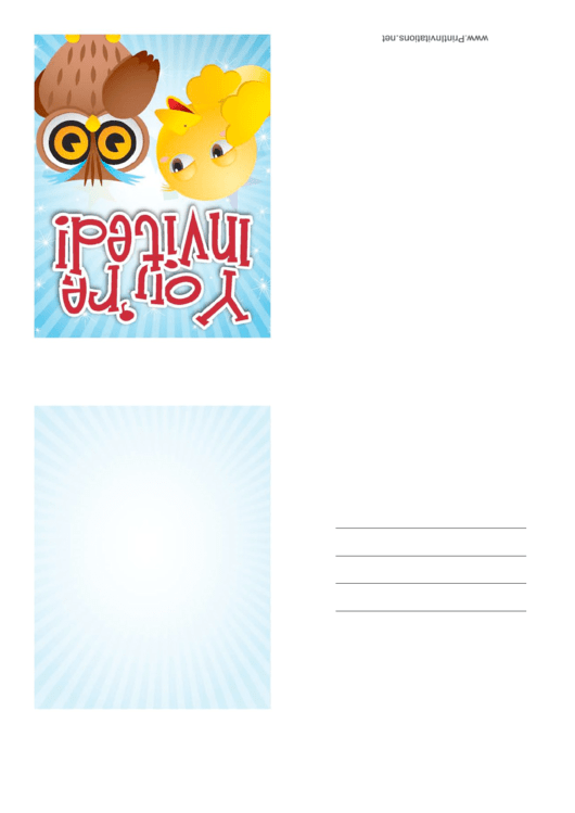 Invitation Template Owl Printable pdf