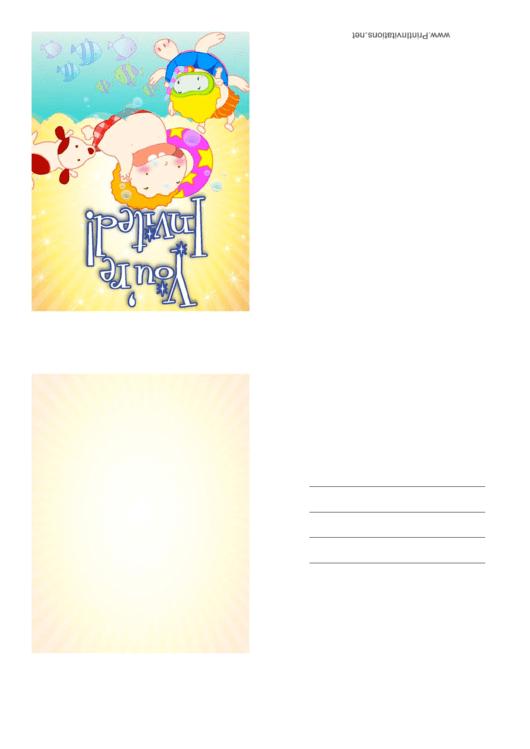 Beach Invitation Template Printable pdf