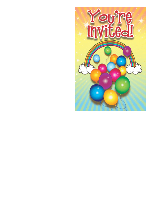 Rainbow Invitation Template Printable pdf