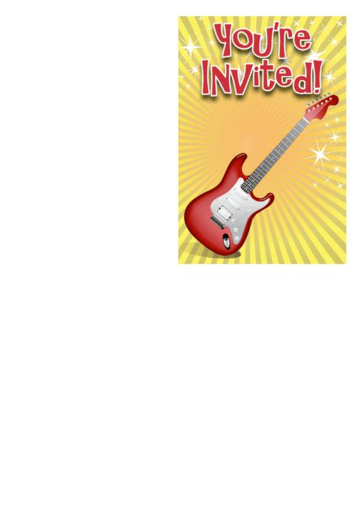 Guitar Invitation Template Printable pdf