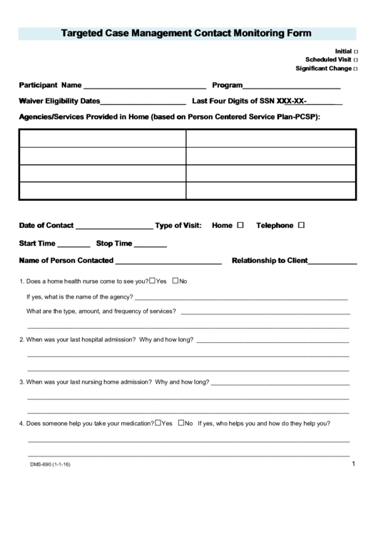 Fillable Targeted Case Management Contact Monitoring Form Printable pdf