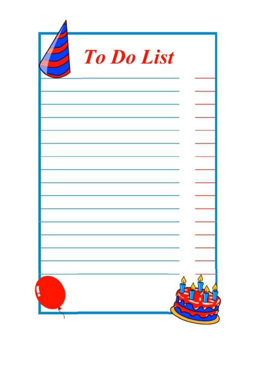 Kid Birthday To Do List