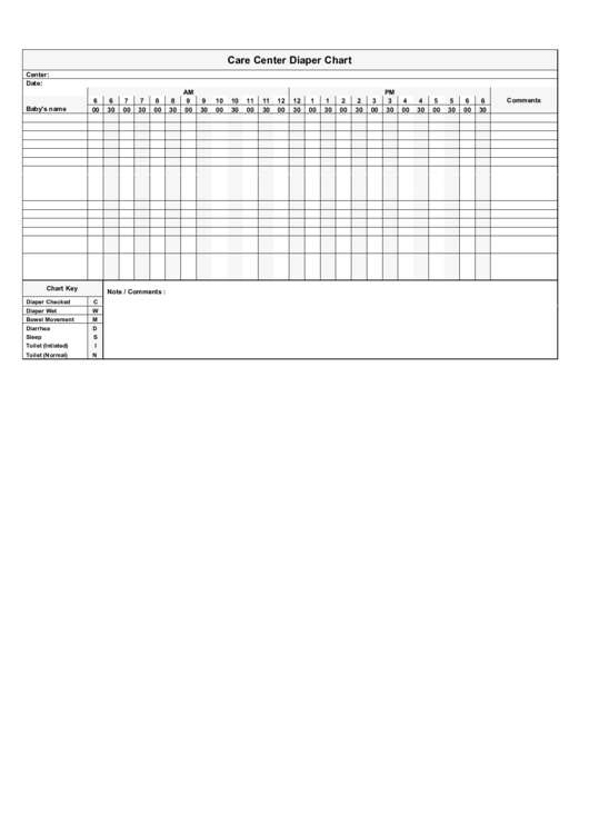 Care Center Diaper Chart Template