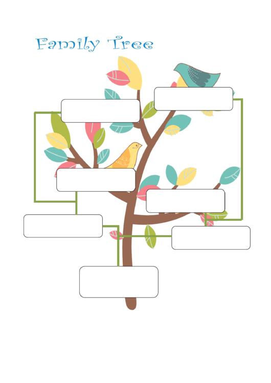 Family Tree Template - Birds Printable pdf