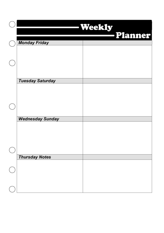 Weekly Planner Template - Black And White Printable pdf