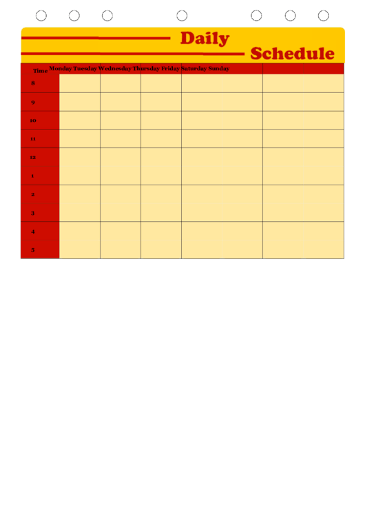 Daily Schedule Planner Template - Yellow Printable pdf