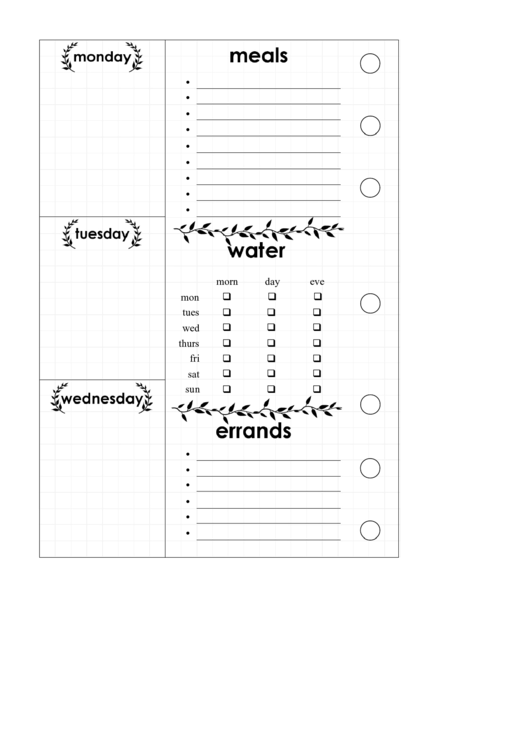 Menu Planner Template Printable pdf