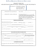 Request Form For Ged Certificate And/or Official Transcript Of Ged Test Results