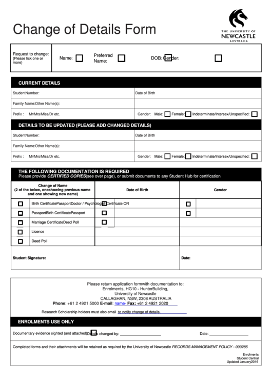 The University Of Newcastle Change Of Details Form Printable pdf