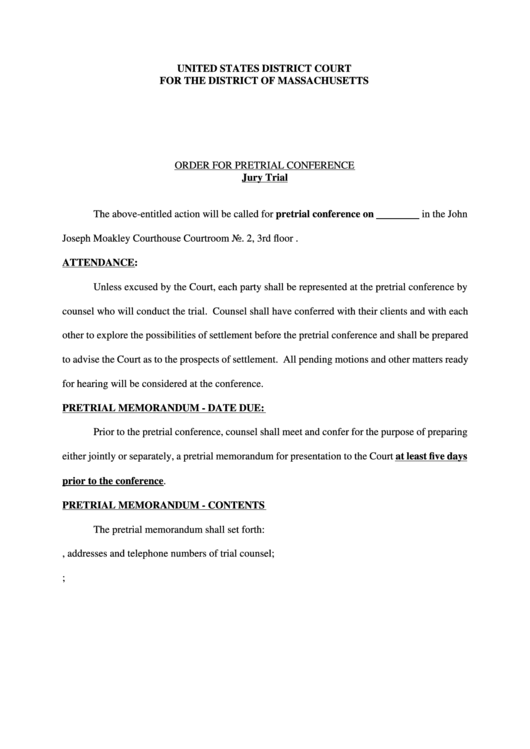 Order For Pretrial Conference Printable Pdf Download